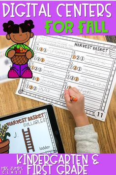 Fun and engaging digital literacy centers for kindergarten and first grade. These no-prep digital centers are great for the Fall season. Students practice rhyming, syllables, beginning sounds, word families, letter recognition, and more! #digitalcenters #fallcenterideas #technologyintheclassroom