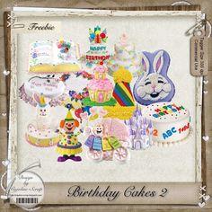 "Free scrapbook elements  ""Birthday cakes 2"" from Cajoline scrap"
