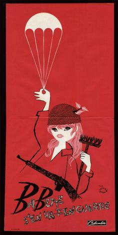 Babette S'en Va-t-en Guerre film poster 1959 w/ Brigitte Bardot