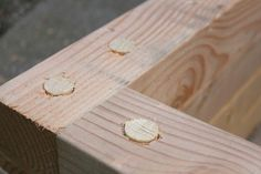 Dowels in the garden box corners