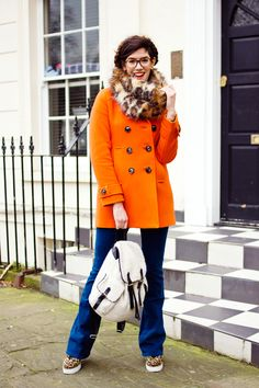 Blogger Shiny Thoughts wears the Boden Ledbury Pea Coat. February 2015.