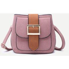 Pink Buckled Strap Pocket Front Shoulder Bag (1.255 RUB) ❤ liked on Polyvore featuring bags, handbags, shoulder bags, pink, vintage purses, suede purse, purple shoulder bag, shoulder hand bags and pink shoulder handbags