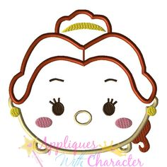 Disney Inspired Belle Tsum Tsum Applique Embroidery Machine Design 4 Hoop sizes Instant Download by appliqueswcharacter on Etsy