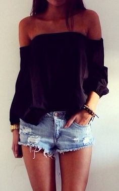 Off shoulder top + jean shorts. Cute.