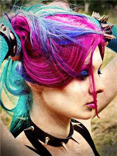 blue pink and teal hair color