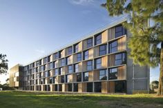 Last year, BVN Architecture completed two dormitories for Monash University in Melbourne, and we adore everything about them — from their articulated facades to their connection with the environment, shared common areas, and spacious studio apartments. BVN designed the dorms based on standards they helped develop for affordable housing in Australia, and the project achieved a 5 star Green Star rating for its energy efficient design, solar power and water efficiency.