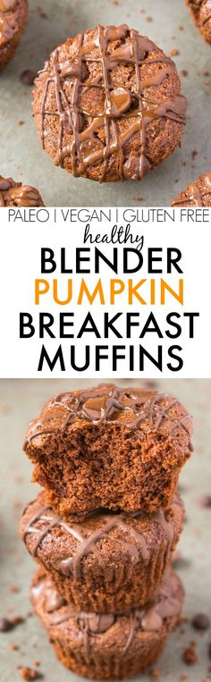 Healthy BLENDER Pumpkin Breakfast Muffins made with NO butter, oil, flour or…