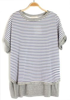 ++ Blue Striped Patchwork Irregular Bat Sleeve Cotton T-Shirt