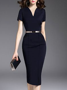 V-Neck Slit Pocket Plain Bodycon Dress – wanokitty outfits for work work dresses fall outfit ideas for work winter work dress outfits womens dresses for work work fashion fall casual work dresses work casual Elegantes Outfit, Mode Chic, Dress Silhouette, Office Dresses, Work Dresses, Dresses Dresses, Coat Dress, Dress Brands, Dresses Online
