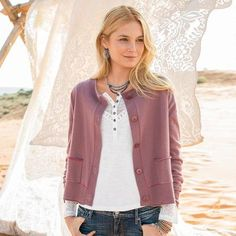 "PURE COMFORT CARDIGAN - The beauty of this easy-fitting, delightfully soft cashmere cardigan is in the details—subtle contrast stitching, rolled edges and corozo buttons. Cashmere. Hand wash. Imported. Exclusive. Sizes XS (2), S (4 to 6), M (8 to 10), L (12 to 14), XL (16). Approx. 22""L."