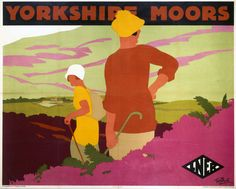 Poster, London & North Eastern Railway, Yorkshire Moors by Tom Purvis. With two cartoon figures walking through the moors. Posters Uk, Railway Posters, Online Posters, Poster Prints, Art Prints, Vintage Travel Posters, Vintage Ads, Illustrators, British Rail