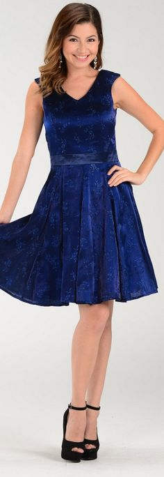 Knee Length Embroidered Navy Blue Dress V Neck Choir Dresses, Knee Length Dresses, Navy Blue Dresses, Homecoming, Party Dress, Cocktail, V Neck, Weddings, Formal Dresses