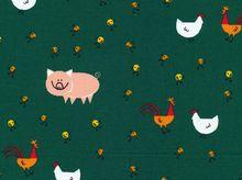 Cloud 9 Happy Drawing Barnyard Organic Cotton Green