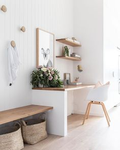 minimalist home office with modern desk and open shelves, vertical white shiplap. - minimalist home office with modern desk and open shelves, vertical white shiplap…- minimalist hom - Home Office Space, Home Office Design, Home Office Decor, Home Office Shelves, Office Ideas, White Desk Home Office, Office In Bedroom Ideas, Small Bedroom Ideas On A Budget, Hallway Office