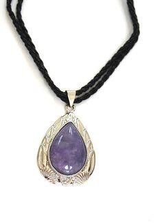 Natural Gemstone Purple Jade Teardrop Pendant Necklace Black Cord Zen Chakra Fengshui by BeautyandtheGems on Etsy