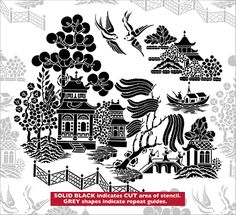 Willow Pattern stencil from The Stencil Library CHINOISERIE range. Buy stencils online. Stencil code CH32.