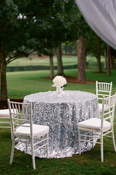 silver glitter linens!   Justin DeMutiis #wedding