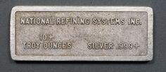 Vintage National Refining Systems Inc 10 Troy Ounce Silver Bar Serial #81011-106