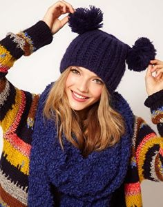 Shop the latest ASOS Rib 2 Pom Beanie trends with ASOS! Beanie Outfit, Beanie Hats, Knitting Patterns, Crochet Patterns, Knit Crochet, Crochet Hats, Pom Pom Hat, Cowls, Dresses