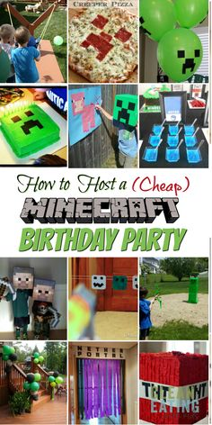 How to Host a (Cheap!) Minecraft Birthday Party (with Printables & Step by Step Party Planner) - Clean Eating with kids Diy Minecraft Birthday Party, Minecraft Party Games, Minecraft Party Decorations, Birthday Party Games, 6th Birthday Parties, Birthday Party Decorations, Party Themes, 8th Birthday, Minecraft Houses