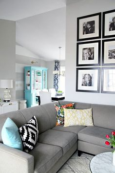 FC home:Living room-grey couch, black tv stand or natural wood, light grey walls, and welcome bright colors! Living Room Grey, Home Living Room, Apartment Living, Living Room Decor, Grey Room, Living Spaces, Room Color Schemes, Room Colors, Wall Colors