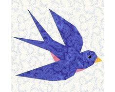 Swallow paper piecing quilt block pattern INSTANT DOWNLOAD PDF via Etsy