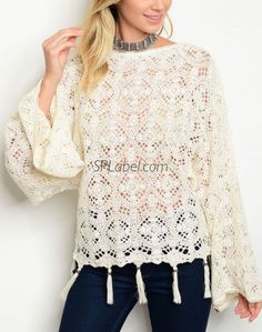 New AX Crochet Detail Tunic Top Cold Shoulder Cream Size 18