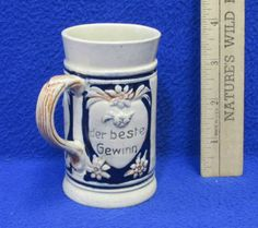 Vintage Germany Miniature Ceramic Beer Stein Mug Couple Lovers German Saying