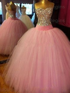Beautiful Corset Bodice Crystals Long Pink Ball Gown Prom Dresses 2014 Tulle Rhinestones vestido de festa Shining Prom Dress $197.60