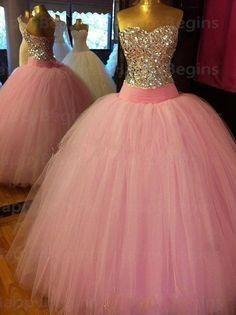 Beautiful Corset Bodice Crystals Long Pink Ball Gown Prom Dresses 2014 Tulle Rhinestones vestido de festa Shining Prom Dress $197.60