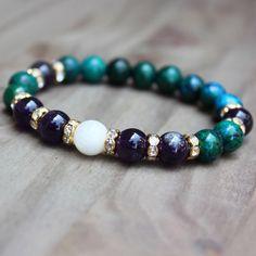 Amethyst Moonstone Bracelet, Healing Stone, Yoga Jewelry, Buddhist Mala, Women Wrist Mala, by DazzleDream on Etsy https://www.etsy.com/listing/185943615/amethyst-moonstone-bracelet-healing