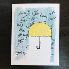 Shower Card / for baby or bride / watercolor and ink / single folded card / blank inside / Kraft envelope