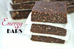 Easy Homemade 3-Ingredient Energy Bars! NO BAKE! NO TRICKS! Takes less than 5 minutes to make.