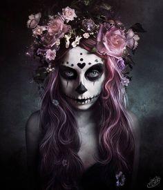 Santa muerte // Skull // Day of the dead // pink hair // flower crown #makeup