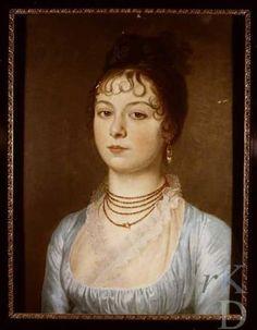 Multi-stringed necklace. Portret van Louise Christine Egbertine Francoise Hora Siccama (1788-1862)