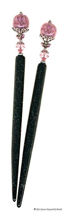 Heavenly Rose Special Edition Hair Sticks - One-of-a-kind art glass, Swarovski crystal and sterling silver hair jewelry by LongLocks HairSticks