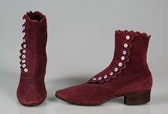 "Walking boots  Dr. P. Kahler & Sonds  1910-20  American   leather  Label: ""Dr. P. Kahler & Sons/ 1160 Broadway, N.Y."" Stamped: ""O'Sullivan's Safety Cushion Heel/ USA/ Pat. Jan. 24, 1899""  MET Museum"