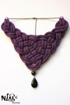 collier NUNA violet - collier tricoté - fait main - Niak Original
