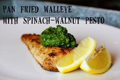 a cheaper take on pesto - a spinach-walnut version - and pan fried walleye Easy Healthy Recipes, Paleo Recipes, Walleye Recipes, Vegan Friendly Restaurants, Fried Fish, Fish Fry, Walnut Pesto, Seafood Dinner, Vegan Foods