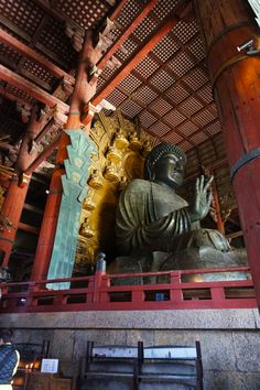 Bronze statue in Todaiji Temple is a must see in Nara, Japan!