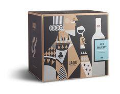 "JAQK Cellars ""Her Majesty Chardonnay"" packaging — Designed by Hatch, San Francisco. www.hatchsf.com"