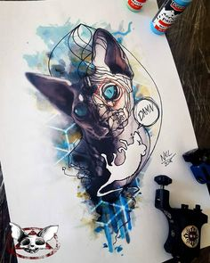 Sphynx cat drawing by Zoltan Meszaros