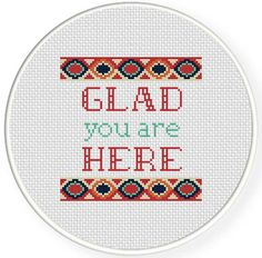 FREE Glad You Are Here Cross Stitch Pattern