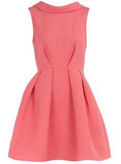 Dorothy Perkins - Coral V-Back Collar Dress