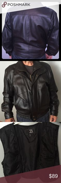 Men's black bomber jacket Leather bomber jacket with separate lining. 251/2 inches from shoulder to wrist Jackets & Coats