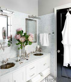 chic. gorgeous sinks, great storage   Boston Brownstone - Brownstone Decorating Ideas - House Beautiful