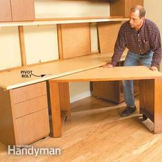 Hidden tuck away table is a neat idea for extra creative room. How to Build a Home Office
