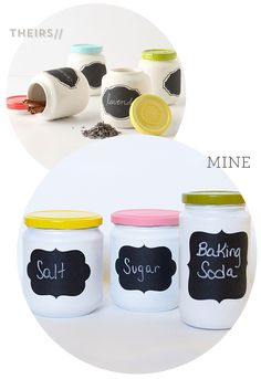 DIY Anthropologie Chalkboard Spice Jars by Sarah Hearts Painted the jars white and applied chalk board labels... Easy peasy!