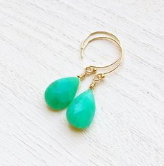 Beautiful, Luxe AAA, Australian Chrysoprase Gemstone Briolettes with 14k Gold Fill on Etsy, $45.00