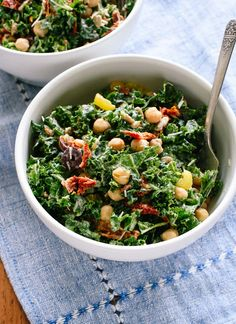 This healthy Greek kale salad recipe is full of bold Mediterranean flavors. It packs great for lunch, too. Vegetarian, gluten free, and easily vegan.